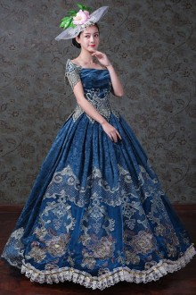 Navy Blue Off Shoulder True Velvet Embroidery Lolita Prom Dress