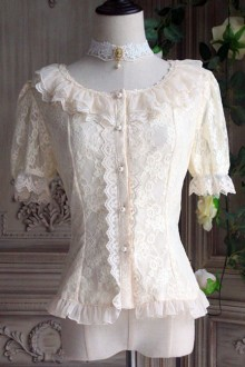 The Poetry Of Roses Elegant Lace Short Sleeve Trumpet Sleeves Two Wearing Ways Classic Lolita Blouse