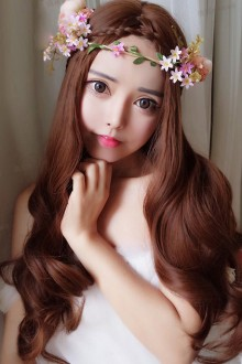 Light Brown Curly Hair Centre Parting Long Curly Hair Lolita Wig