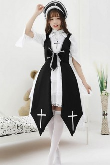 Black Or Red Cross Witch Gothic Lolita  Dress And Shirt And Hat Set