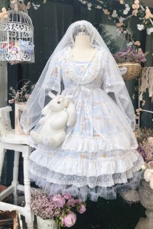 """Original """"Sky の Flower Marriage"""" Printed French Short-Sleeved Sweet Dress 2 Colors"""