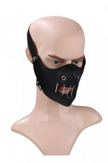 Steam Punk Black Skull Windproof Outdoors Motorcycle Hollow Out PU Mask