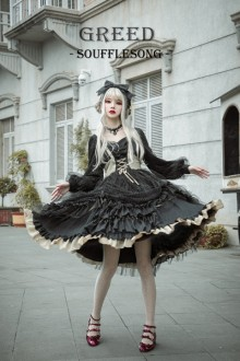 "Original New ""Greedy"" Souffle Song Long-Sleeved Gothic Lolita OP Dress"