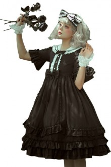 Original Short Sleeve High Waist Gothic Lolita OP Dress