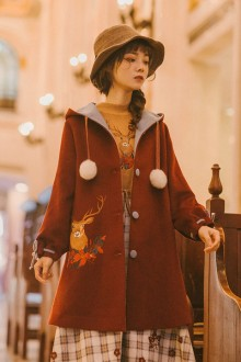 """Original """"Maria's Song"""" Red Hooded Embroidered Christmas Sweet Lolita Coat"""