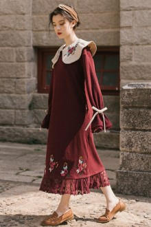 Red Doll Embroidered Collar Long Sleeve Loose Long Sweet Lolita Dress