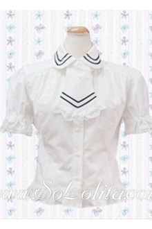 Lolita Special Tie Ruffle Trim White Cotton Blouse