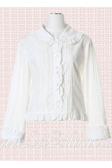 Lolita Cheap White Long Sleeves Pleated Cotton Blouse