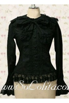 Lolita Special Design Bowtie Lace Border Black Blouse