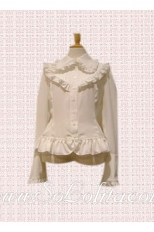 Lolita Pure White Ruffle Border Hotsale Cotton Blouse