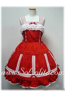 Lolita Small Fresh Red Cotton Sleeveless Straps Lace Trim Sweet Dress