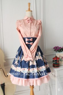 Lolita Trojans Pattern High Waist Sweet Blue Cotton Pink HemSkirt