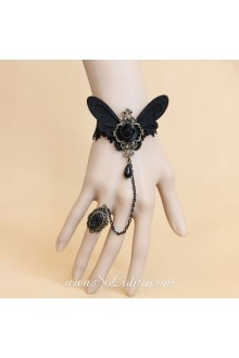 Black Lace Nonwoven Flower with Pearls Lolita Bracelet