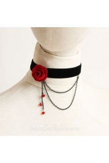 Gothic Black Velvet Ribbon with Red Rose Lolita Necklace