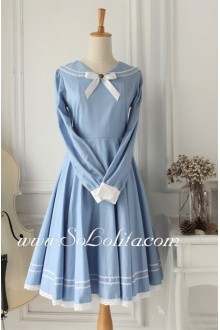 Sweet Vintage School Light Blue    Sailor Lolita Dress
