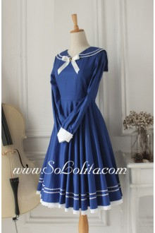 Sweet Vintage School Dark Blue    Sailor Lolita Dress