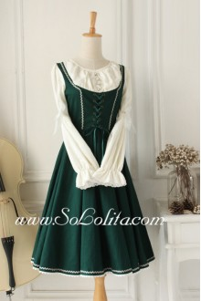 Dark Green Vintage Sweet Idyllic Classic Lolita Dress