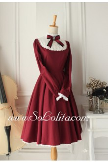 Vintage Wine Red Cotton Doll Collar Long Sleeves Classic Lolita Dress