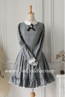 Sweet Grey Flouncing Long Sleeves Classic Lolita Dress