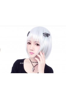 Lolita Short Straight White with Light Green Cosplay Wig