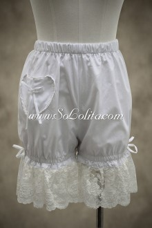 Sweet White Lace Elastic Lolita Bloomer