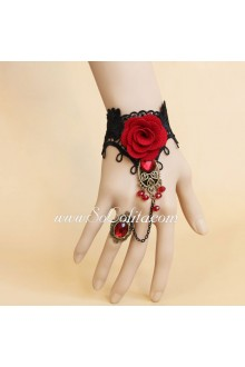 Sweet Black and Red Rose Lolita Bracelet