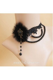 Black Lace Hairy and Sexy Pearl Lolita Necklace