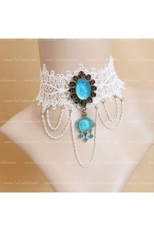 White Lace Blue Diamond Lolita Necklace