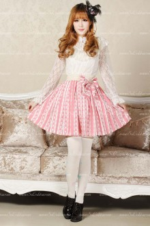 Pink  Rabbit Pleated Sweet Lolita Skirt