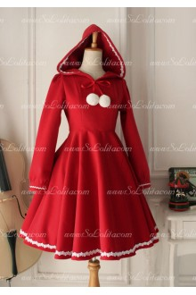 Sweet Red Wool Blended Lace Lolita Coat