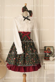 High Waist Vintage Walnut Bowknot Lolita Skirt