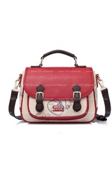 Lolita Vintage Beautifully Printed Dark Red Postman Middle Bags