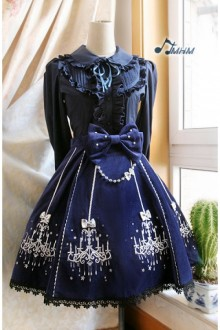 Classic Ornate Chandelier Shape Velveteen Embroidered HMHM Lolita Dresses