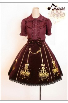 Classic Ornate Chandelier Shape Velveteen Embroidered HMHM Lolita Half Skirt