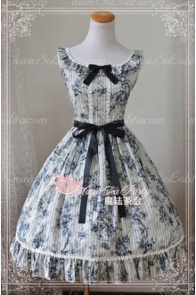 Beautiful Chinese Ink Rose Print Magic Tea Party Lolita Dress