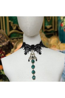 Lolita Lace Black Wedding Dress Stylish Rose Necklace