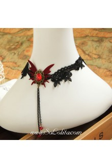Lolita Black Punk Vampiric Lace Butterfly Necklace