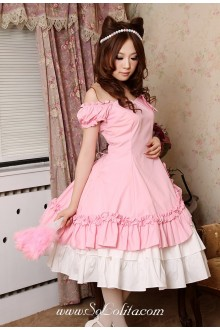 Pink Sweetheart Puff Sleeves Knee-length Ruffles Classic Lolita Dress