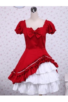 Pop Red Two-layer Bow Short Sleeves Classic Lolita Dress