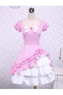 Lovely Pink Checked Bow Short Sleeves Cotton Classic Lolita Dress