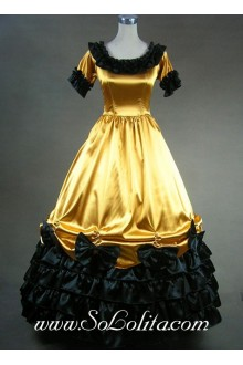 Gorgeous Black-Bows Ruffle Golden Gothic Victorian Lolita Dress