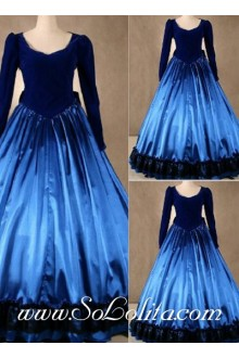 Gothic Victorian Royal Blue Noble Simple Fashion Lolita Dress