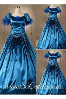 Gothic Victorian Graceful Satin Blue Lolita Dress