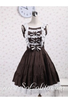 Brown Sleeveless White Lace Ruffles Pleated Sweet Classic Lolita Dress