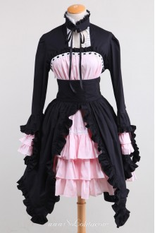 Black and Pink Splicing Bow Stand Collar Gothic Lolita Dress