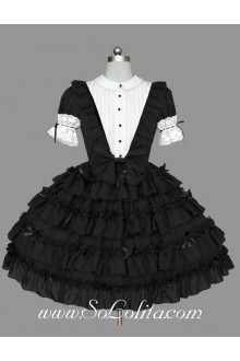 Multilayer Black and White Lapel  Elbow Sleeve Bow Lace Trim Gothic Lolita Dress