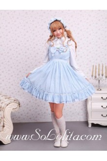 Light Blue Cotton Straps Sleeveless Bow Lattice Sweet Sailor Lolita Dress