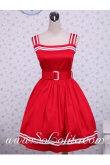 Red Cotton Belt School Sleeveless Sailor Lolita Dress