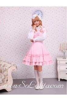 Lolita Pink Cotton White Lace Pleated Bow Sweet Dress