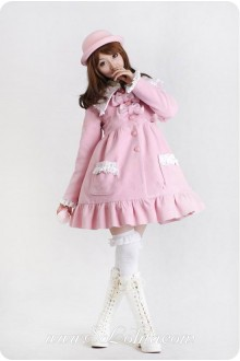 Pink Wool Blended Woolen Doll Collar Lace Trim Button Sweet Lolita Coat